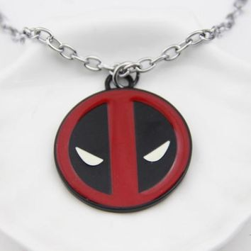Deadpool Dead pool Taco ZRM Fashion Jewelry  Necklace Personality Red and Black Classic Pendant Vintage Fashion Round Dome Necklaces  AT_70_6