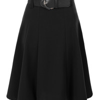 LE3NO Womens High Waisted Flared Midi Knee Length Skater Skirt with Belt