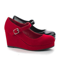 KaylaIIS Round Toe Children's Platform Mary Jane High Heel Wedges