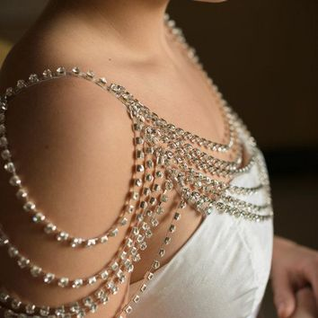 Sexy Shoulder Chain Rhinestone Crystal Mesh Necklace Jewelry