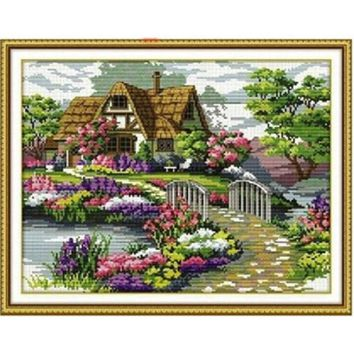 Handmade Cotton Thread Cross Stitch Embroidery Garden Cottage Design Villa Garden Peony beautiful