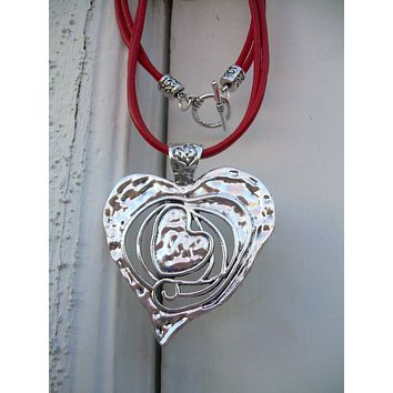 Heart Necklace, Leather Necklace, Heart Pendant,  Red, Womens Necklace, Statement Necklace