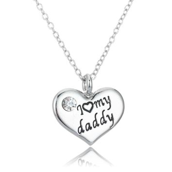 I Love My Daddy Heart Crystal Chain Pendant Necklace For Men Family Father's Day Gifts Charm Jewelry Silver Plated Dad