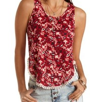 Bright Red Combo Pom-Pom Trimmed High-Low Tank Top by Charlotte Russe