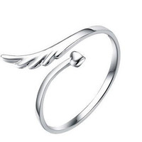 Womens Girls Adjustment Wing Silver Ring Uniquering-106