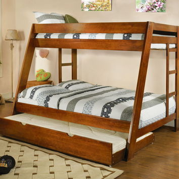 Furniture of america CM-BK358OAK Arizona oak wood finish twin over full bunk bed