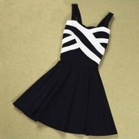 Stripes Hit The Color Stitching Strap Dress A 091214
