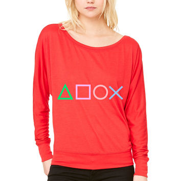 Gamersss WOMEN'S FLOWY LONG SLEEVE OFF SHOULDER TEE