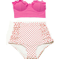Pink Midkini Top and White Red Polka dot High Waisted Waist Highwaisted Highwaist Shorts Bottom Swimsuit Bikini Bikinis Bathing suit S M L
