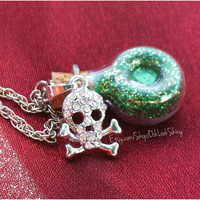 Wicked Silver Skull Poison Potion Charm Necklace