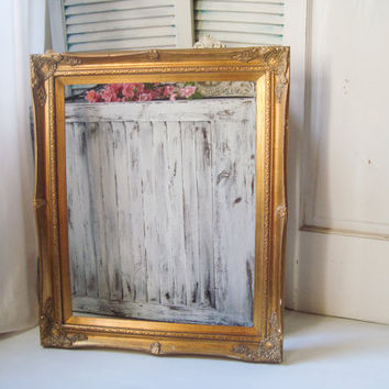 Gold Ornate 16 x 20 Frame, Large Open Frame, Custom Paint Color Option, Shabby Chic, Wedding Frame, Photo Prop, Cottage Chic, Mint, Cream