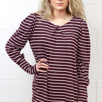 Basic Stripe U-Hem Long Sleeve {Mulberry}