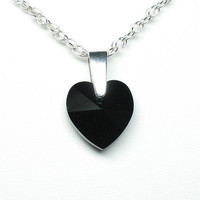 Black crystal heart pendant on sterling silver chain