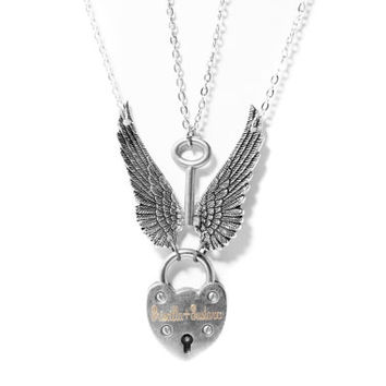 Angel Wing Necklace Set, Engraved Winged Heart Lock Necklace, Couples Antique Silver Skeleton Key Boyfriend Girlfriend Lovers Padlock