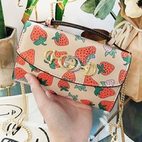 GUCCI Fashion New High Quality Strawberry Print Shopping Leisure Crossbody Shoulder Bag Women