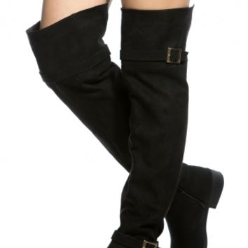 Black Faux Suede Over the Knee Boots @ Cicihot Boots Catalog:women's winter boots,leather thigh high boots,black platform knee high boots,over the knee boots,Go Go boots,cowgirl boots,gladiator boots,womens dress boots,skirt boots.