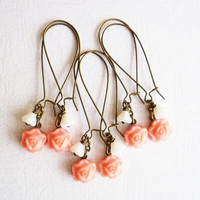 Set of 3 Pink Coral Wedding Jewelry, Bridemaids Gift, Bronze Vintage Weddings, Rustic, Long Earrings, Free Shipping EU, US, CAN