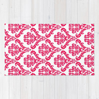 *** DAMASK PINK RED *** Area & Throw Rug by MY PRETTY HOME | Society6