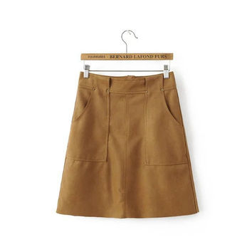 High Waist Suede Skirt [6332339204]