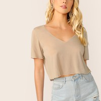 V-neck Crop Solid Tee