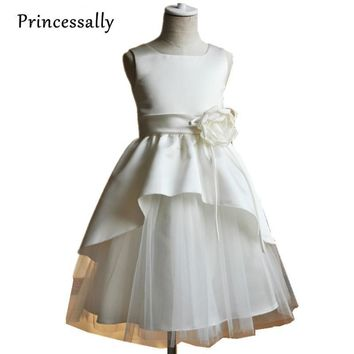 Vestido De Festa Ivory Taffeta Flower Girl Dress Cute Flower Girls Dresses For Weddings Red Girls Party Dress Kids New 2015