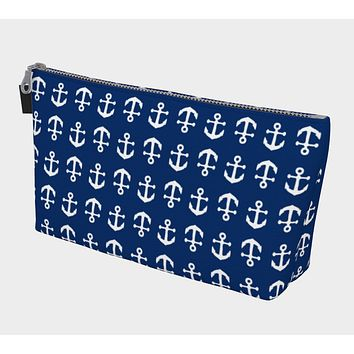 Anchor Toss Makeup Bag - White on Navy