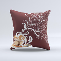 Steaming Vector Coffee Floral  Ink-Fuzed Decorative Throw Pillow