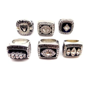 1967 1976 1980 1983 2002 2015 6pcs Los Angeles Raiders champions rings with wooden display box for men's collection
