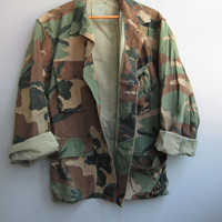 Vintage Camo Jacket Shirt Camouflage Green Military Bdu Distressed Short Small