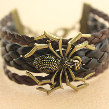 bracelet--spider bracelet,antique bronze charm bracelet,black&brown braid leather bracelet,women gift