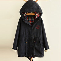 Anchor Dot Printed Drawstring Hooded Coat