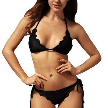 Black Scallop Triangular Bikini Self-tie Swimsuit