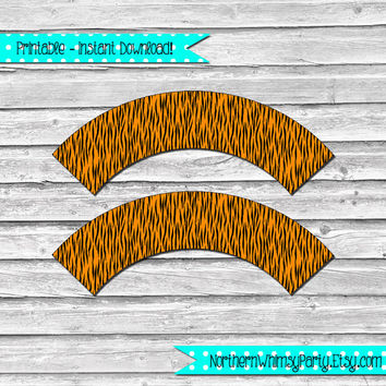 Printable Tiger Stripe Cupcake Wrapper Set – DIY printable party supplies -  animal  print – orange & black jungle theme - INSTANT DOWNLOAD