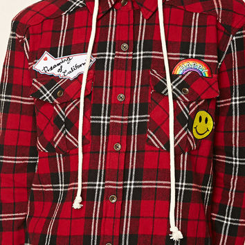 Patched Hooded Flannel Shirt