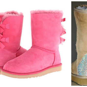 Swarovski Crystal Embellished Pink Bailey Bow Uggs - Winter / Holiday Bling UGGs 2013