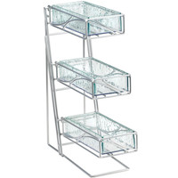 5.25W x 14D x 18H 3 Tier Flatware Display Faux Glass Bins