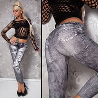 Stylish Denim Look Ripped Faux Jean Gray Leggings Tights Pants = 5708489537