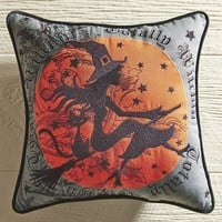 Flying Witch Embroidered Pillow