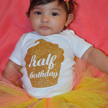 Half birthday glitter gold TOP ONLY