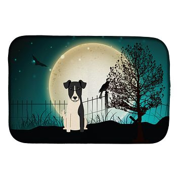 Halloween Scary Smooth Fox Terrier Dish Drying Mat BB2288DDM