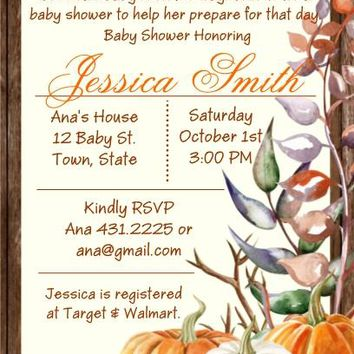 10 Fall Bridal or Baby Shower and Birthday Party Invitations
