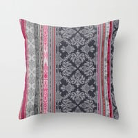 Burgundy, Pink, Navy & Grey Vintage Bohemian Wallpaper Throw Pillow by Micklyn
