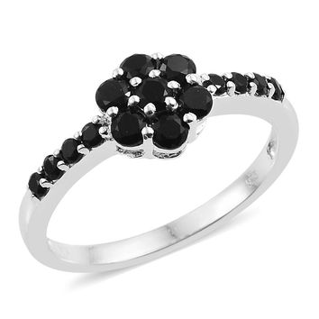 Black Spinel Sterling Silver Flower Ring