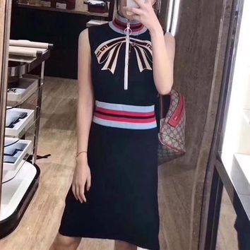 gucci women temperament fashion multicolor stripe bow turtleneck sleeveless vest dress-1
