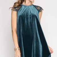 My Kind Of Romance Blue Lace Crushed Velvet Swing Dress