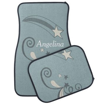 Personalized Blue White Shooting Stars Flourish Car Floor Mat