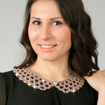 SALE, Handmade beige crystal peter pan collar necklace, Detachable peter pan collar, ready to ship