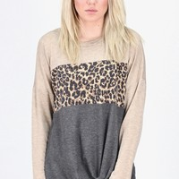 Twisted Leopard Block L/S {Oatmeal/Charcoal}