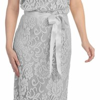 Ribbon Sash Belt Silver Floral Laced Long Column Party Gown (3 Colors Available)