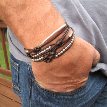 Rustic Men's Brown Leather Silver with Tubes Leather Wrap Bracelet